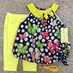 เสื้อผ้าเด็กเซต เสื้อ+เลกกิ้ง+สายคาดผม (ทรงบอลลูน) Size 3m-6m-9m