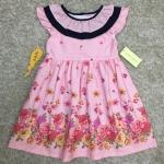 เสื้อผ้าเด็ก 5-7ปี size 5Y-6Y-7Y ลายดอกไม้ สีชมพู คอระบาย