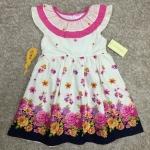 เสื้อผ้าเด็ก 5-7ปี size 5Y-6Y-7Y ลายดอกไม้ สีขาว คอระบาย