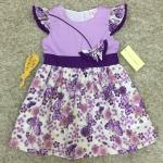 เสื้อผ้าเด็ก 5-7ปี size 5Y-6Y-7Y ลายดอกไม้ แต่งผีเสื้อ สีม่วง