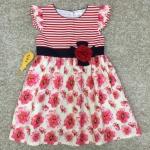 เสื้อผ้าเด็ก 5-7ปี size 5Y-6Y-7Y ลายดอกไม้/ริ้วขวาง สีแดง