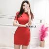 Dress ผ้ายืดเนื้อดีเนื้อแน่น สีแดงโดดเด่นเป็นสง่า
