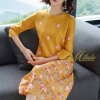 Dress คอกลมแขน 5ส่วน เนื้อผ้าชิฟฟร้อน ปริ้นลายดอกไม้