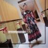 เดรสยาวผ้าชีฟองเกาหลี ปักลายกุหลาบ