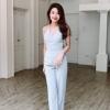 Setเสื้อ+กางเกง ตัวเสื้อสายคล้องคอเว้าหลังมีเชือกยาวผูกหลัง