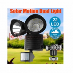 Solar Powered Bright 22 LED Dual Head PIR Motion Sensor Light