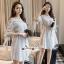 Lady Chic Shoulder Dress Cutting Blue&White Square cloth thumbnail 3