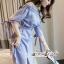 Lady Chic Shoulder Dress Cutting Blue&White Square cloth thumbnail 9