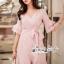Pink Stripe Short-Sleeved Shirt Korea Style thumbnail 1