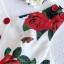 เดรสเนื้อผ้าเครปพิมพ์ลายดอกกุหลาบสีแดง thumbnail 9