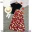Set 2 ชิ้น เสื้อยืดสีพื้น ผ้าคอตตอน + กระโปรงทรงสวิงผ้าชีฟองพิมพ์ลายดอกทิวลิป thumbnail 3