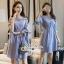 Lady Chic Shoulder Dress Cutting Blue&White Square cloth thumbnail 7