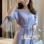 Lady Chic Shoulder Dress Cutting Blue&White Square cloth thumbnail 8