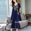 Spot Floral Bead Jumpsuit With Long Outer Set thumbnail 11