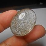ขั้นเทพ เม็ดโต หายาก แก้วไหมเงิน น้ำใสงาม A+++ ขนาด 3.4x 2.5 cm ทำหัวแหวน จี้