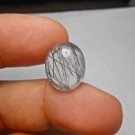 แก้วขนเหล็ก น้ำใสA+++ เส้นสวย ขนาด1.7x 1.4cm ทำหัวแหวน