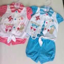 ชุดเด็กหญิงแบบสามชิ้นสินค้าส่งออกผ้ายืดอินเตอรอก ขายส่งยกแพ็คสองสีสีละสามชุดราคาส่ง ชุดละ 140