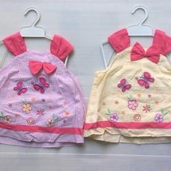ชุดกระโปรงเด็กหญิงปักผีเสื้อราคาส่งยกแพ็ค6ชุด 600บาทตกชุกละ100บาทคละสีคละไช่ในแพ็ค size 12-18-24เดือน