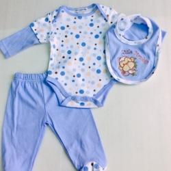 ชุดบอดี้สูทเด็กสามชิ้น สีฟ้า ปักลิง พร้อมผ้ากันเปลื้อน size 3-6-9 เดือน ขายส่งยกแพ็ค 6 ชุด