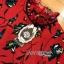 เดรสผ้าเครปสีแดงพิมพ์ลายดอกไม้สีเขียวตกแต่งพลีต thumbnail 12