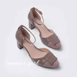 SH_1695 (pre-order) รองเท้ากำมะหยี่ แฟชั่นเกาหลี สูง 5.5cm, 2018, Shoes, Browb Mocca-Black-Red, Size 34-39