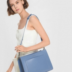 CHARLES & KEITH Ruffle Handle Bag *ฟ้าม่วง