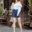 เสื้อผ้าเกาหลี พร้อมส่ง เสื้อโชว์ไหล่ปักลาย+กก.ขาสั้น thumbnail 9