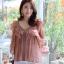 เสื้อเกาหลี พร้อมส่ง เสื้อคอวี ผ้าแก้วชีฟอง thumbnail 5