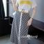 เสื้อผ้าเกาหลี พร้อมส่ง ชุดเซ็ทเสื้อ+กระโปรง+เข็มขัด thumbnail 4