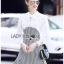เดรสเกาหลี พร้อมส่ง เดรสผ้าชีฟองสีขาวและผ้าลายฮาวสทูธ thumbnail 11
