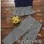 เสื้อผ้าเกาหลี พร้อมส่ง เสื้อคอวีมาพร้อมกางเกงทรงขาบาน thumbnail 6