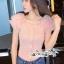 เสื้อเกาหลี พร้อมส่ง เสื้อ ผ้าไหมสีชมพูคอเหลี่ยมผ้ายืด thumbnail 7