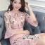 เดรสเกาหลี พร้อมส่ง เดรสสีชมพู มีริ้บบิ้นผูกโบว์ที่คอ thumbnail 6