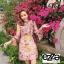 เดรสเกาหลี พร้อมส่ง เดรส ผ้าไหมซิลค์ปริ้นลายดอกไม้ thumbnail 1