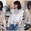 เสื้อเกาหลี พร้อมส่ง เสื้อผ้าคอตตอนสีขาวทรงคอสูง thumbnail 3