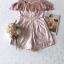 เสื้อผ้าเกาหลี พร้อมส่ง จั้มสูท ขาสั้นเนื้อผ้าทอลายลูกไม้ thumbnail 17