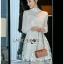 เดรสเกาหลี พร้อมส่ง เดรสผ้าชีฟอง สีขาว thumbnail 6