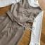 เดรสเกาหลี พร้อมส่ง เดรสลายสก็อต สีเบจทับเสื้อลูกไม้สีขาว thumbnail 18
