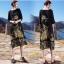 เดรสเกาหลี พร้อมส่ง ชุดเดรสส ผ้าซาติลซิลพิมพ์ลาย thumbnail 2