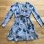 เดรสเกาหลี พร้อมส่ง เดรสผ้าชีฟอง พิมพ์ลายดอกไม้สีน้ำเงิน thumbnail 14