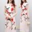 ชุดเดรสเกาหลี พร้อมส่ง เดรสยาว ผ้าซาตินซิลพิมพ์ลาย thumbnail 4