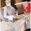 เดรสเกาหลี พร้อมส่ง เดรสลายสก็อต สีเบจทับเสื้อลูกไม้สีขาว thumbnail 4