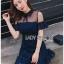 เดรสเกาหลี พร้อมส่ง เดรส แขนสั้นผ้าลูกไม้สีน้ำเงิน thumbnail 4