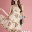 เดรสเกาหลี พร้อมส่ง ชุดเดรส ปักดอกไม้โทนสีครีมทอง thumbnail 4