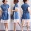ชุดเดรสเกาหลี พร้อมส่ง Dress ยีนส์ คอปก thumbnail 11