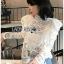 เสื้อเกาหลี พร้อมส่ง เสื้อผ้าคอตตอนสีขาวทรงคอสูง thumbnail 4