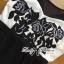 พร้อมส่ง จัมป์สูทขายาวปักลายดอกกุหลาบสีขาว-ดำ thumbnail 9