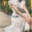 เดรสเกาหลี พร้อมส่ง เดรสผ้าลูกไม้ สีขาวทรงคอสูงตกแต่งระบาย thumbnail 11