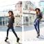 พร้อมส่ง กางเกงยีนส์เกาหลี ใช้ผ้ายีนส์แท้ฟอกสีน้ำเงิน thumbnail 5