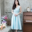 ชุดเดรสเกาหลี พร้อมส่ง Dress ผ้าไหมคอวี thumbnail 2